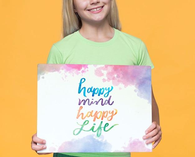 Happy mind счастливая жизнь милая молодая девушка Бесплатные Psd