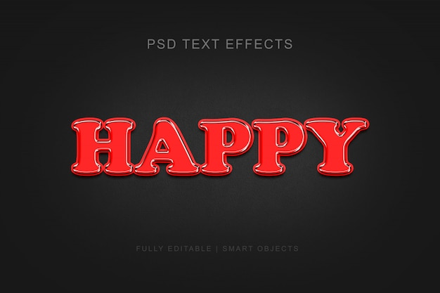 Happy modern editable graphic style text effect Premium Psd