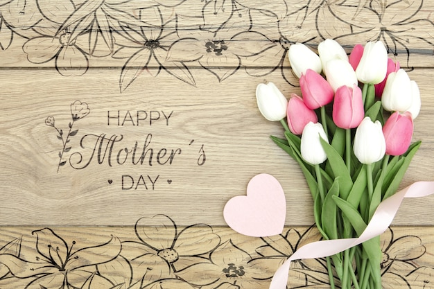 Happy mother's day with bouquet of tulips Free Psd