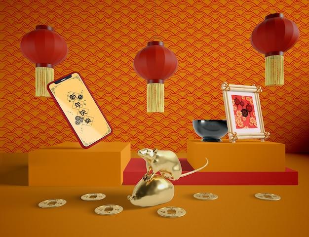 С новым китайским годом с макетом телефона Бесплатные Psd