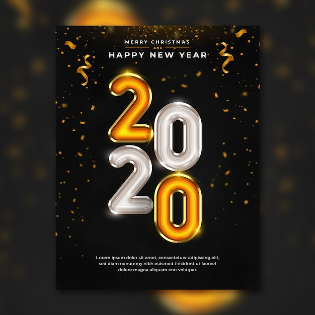 Happy new year 2020 flyer template premium psd Premium Psd