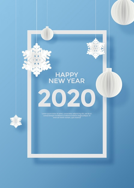 Happy new year 2020 greeting card PSD file | Premium Download