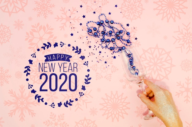 Happy new year 2020 with blue tinsel Free Psd