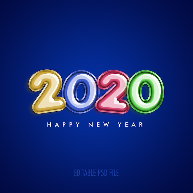 Happy new year 2020 with metallic colorful balloons Premium Psd
