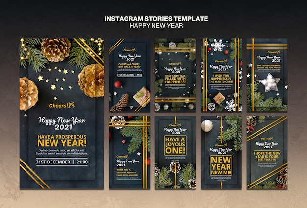 Happy new year 2021 instagram stories template Free Psd