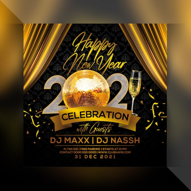 Premium PSD | Happy new year 2021 party flyer