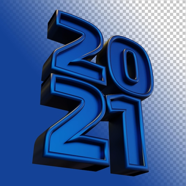 새해 복 많이 받으세요 2021 이십 이십일 대담한 숫자 3d 렌더링 푸른 빛 절연 프리미엄 PSD 파일