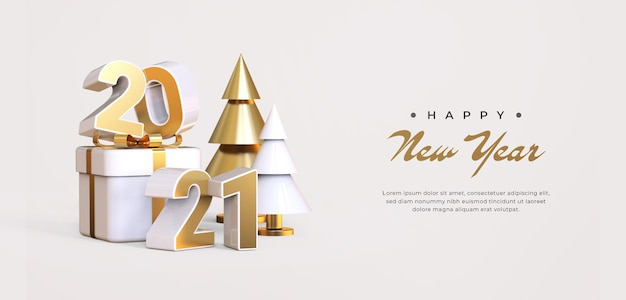 Happy new year 2021 with 3d objects rendering Premium Psd