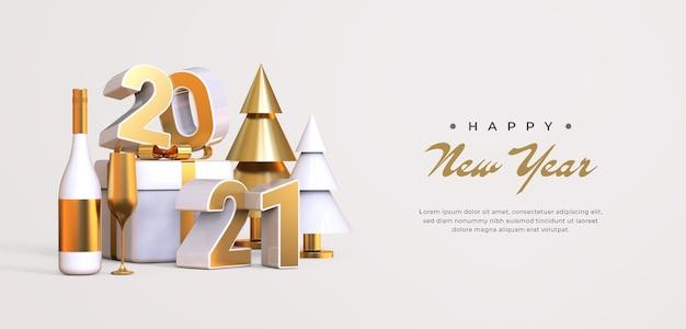 3d 개체 렌더링으로 새해 복 많이 받으세요 2021 프리미엄 PSD 파일
