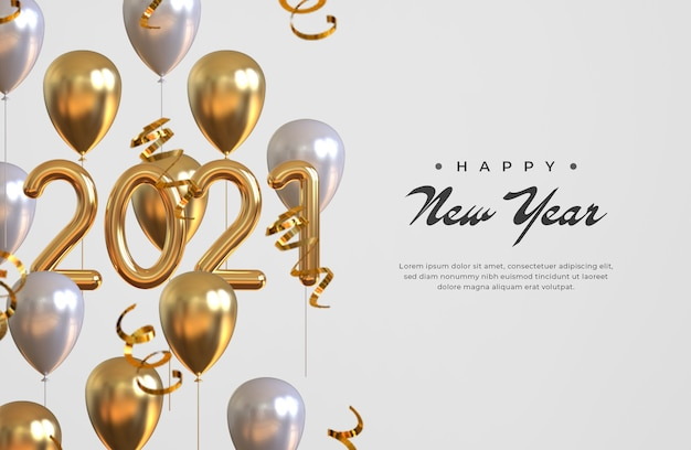 Happy new year 2021 with balloons and confetti Premium Psd