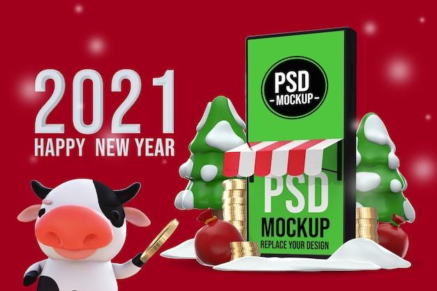 明けましておめでとうございます3dレンダリングモックアップデザイン Premium Psd