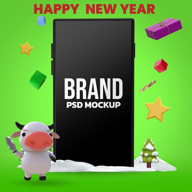 Happy new year 3d rendering mockup design Premium Psd
