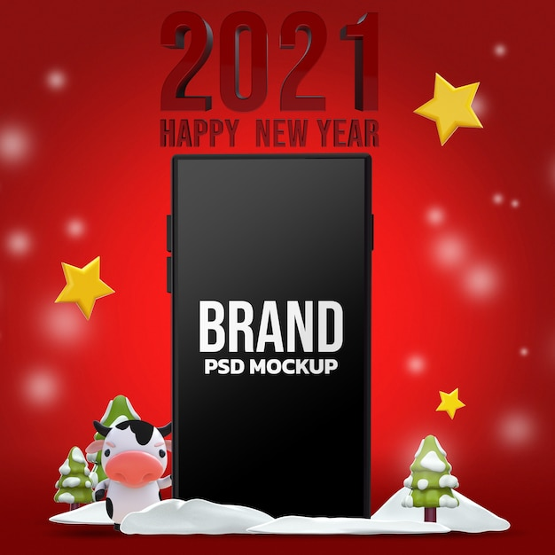 Happy new year 3d rendering mockup design Premium Psd