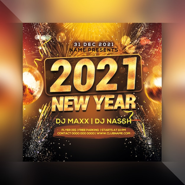 Happy new year celebration party flyer Premium Psd