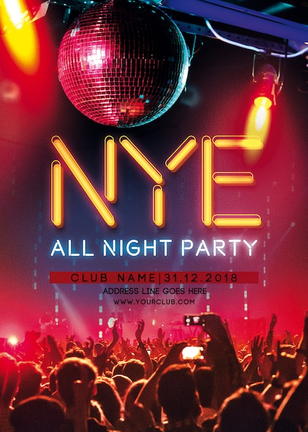 Happy new year party flyer Premium Psd