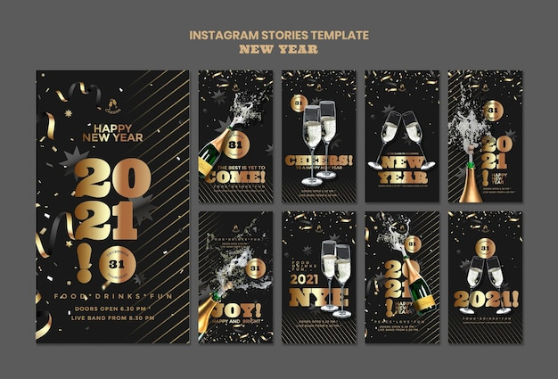Happy new year party instagram stories Premium Psd