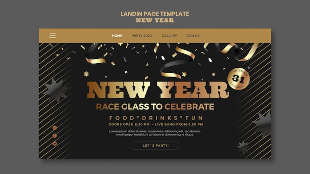 Happy new year party landing page template Free Psd