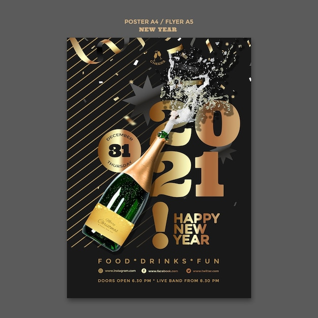 Happy new year party poster template Free Psd