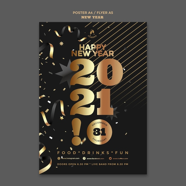 Happy new year party poster template Premium Psd