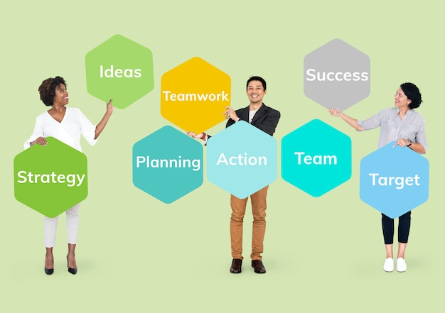 Happy people with a business plan Premium Psd