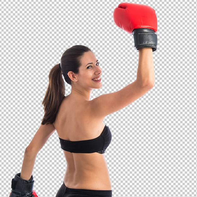 Happy sport woman with boxing gloves Premium Psd