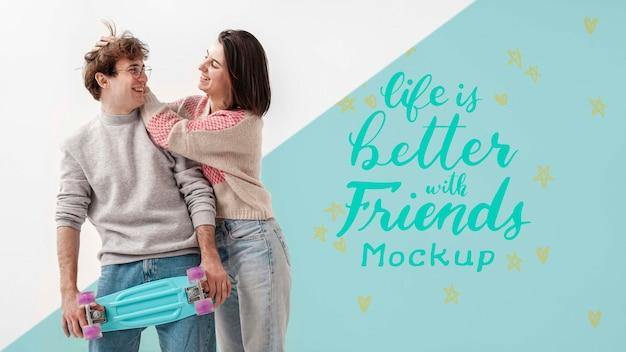 Happy teen friends with mock-up Free Psd