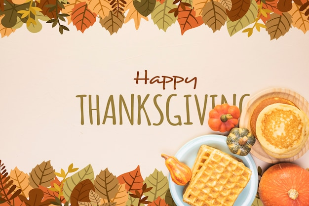 Happy thanksgiving frame of dried leaves Free Psd