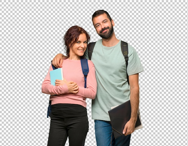 Happy two students with backpacks and books Premium Psd