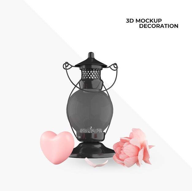 幸せなバレンタインデーの装飾とインテリアデザインのアイテム Premium Psd