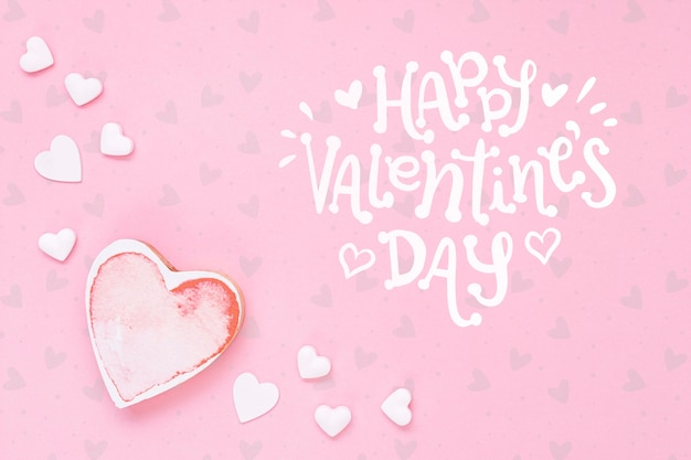 Happy valentine's day concept with heart Free Psd