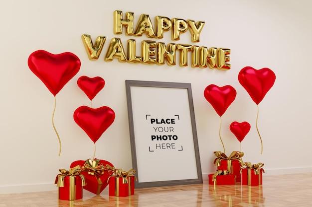 프레임 모형과 함께 해피 발렌타인 데이 장면 프리미엄 PSD 파일