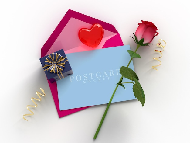 카드 모형과 함께 해피 발렌타인 데이 축하 선물 상자 프리미엄 PSD 파일