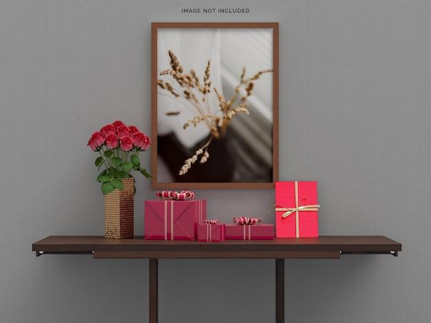 선물 상자 장식으로 해피 발렌타인 데이 축하 파티 프리미엄 PSD 파일