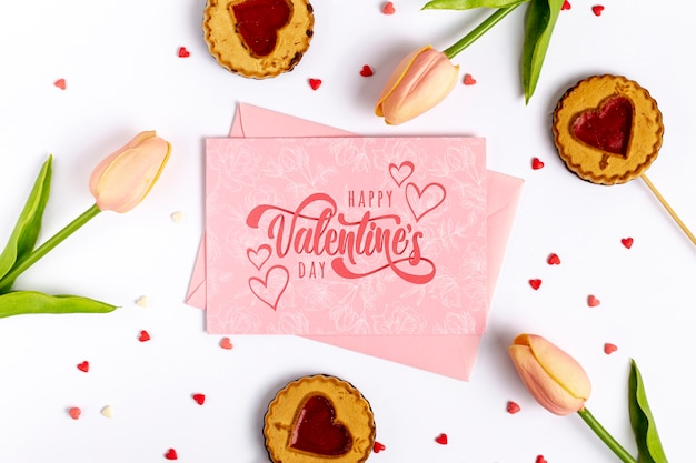 Happy valentines day lettering on pink card Free Psd
