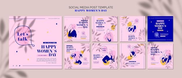 幸せな女の日ソーシャルメディアの投稿 無料 Psd