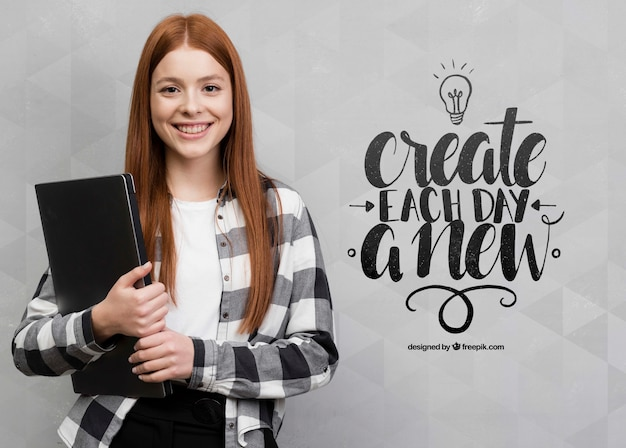 Happy woman next to mock-up Free Psd