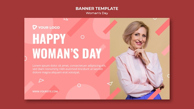 Happy woman's day banner template with woman posing in elegant attire Free Psd