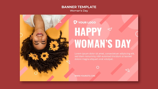 Happy woman's day banner template with woman with flower in her hair Free Psd