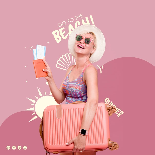 Happy woman summer template Free Psd