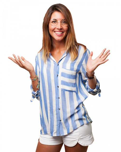 Happy woman with glasses and shorts Free Psd