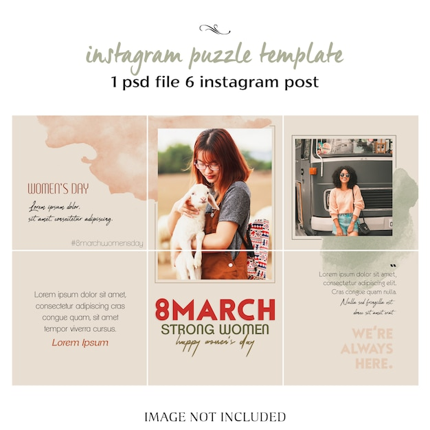 Happy women's day and 8 march greeting instagram collage template Premium Psd