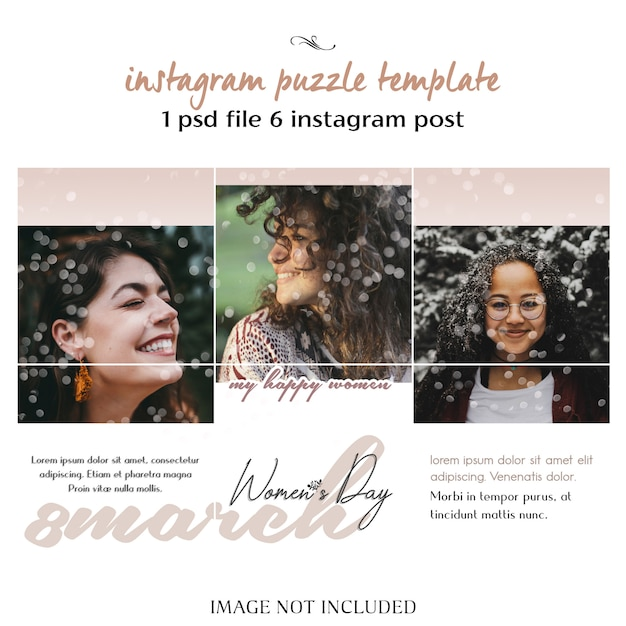 Happy women's day and 8 march greeting instagram puzzle, grid or collage template Premium Psd