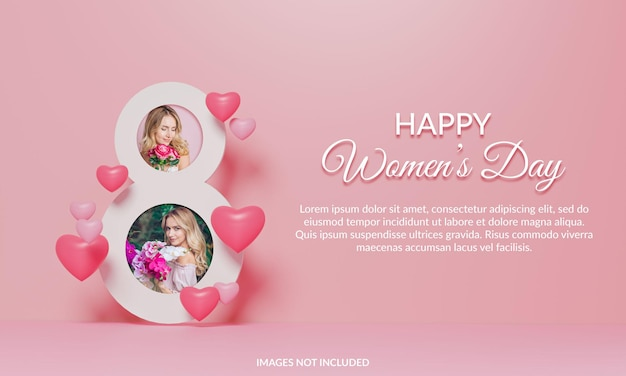 幸せな女性の日のフォトフレームモックアップ3dレンダリング Premium Psd