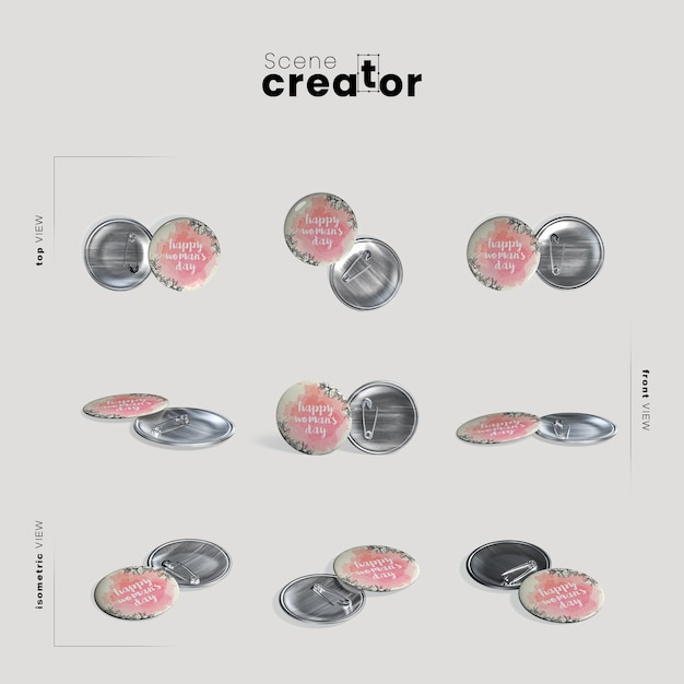 Happy women's day pin scene creator Premium Psd