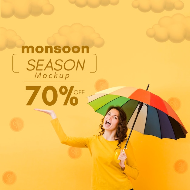 Happy yellow day sales mock-up Free Psd