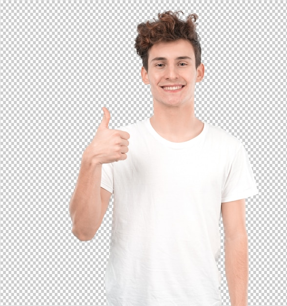 Happy young guy with a gesture of okay Premium Psd