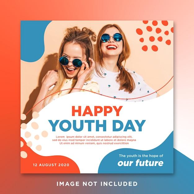 Счастливый день молодежи инстраграмм социальных сми Premium Psd