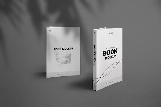 ハードカバー本の表と裏のモックアップ Premium Psd