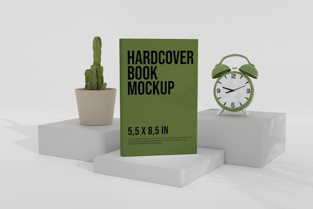 Hardcover book mockup over the podium with analog clock Premium Psd