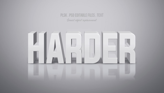 Harder 3d text style effect Premium Psd